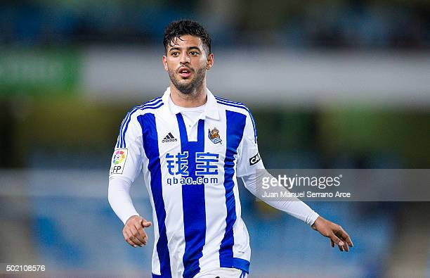 Carlos Vela of Real Sociedad reacts during the La Liga match between Real Sociedad de Futbol and Villarreal CF at Estadio Anoeta on December 20 2015...
