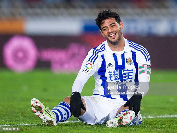 Carlos Vela of Real Sociedad reacts during the La Liga match between Real Sociedad de Futbol and RC Deportivo La Coruna at Estadio Anoeta on January...