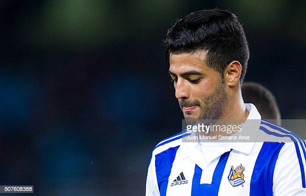Carlos Vela of Real Sociedad reacts during the La Liga match between Real Sociedad de Futbol and Real Betis Balompie at Estadio Anoeta on January 30...
