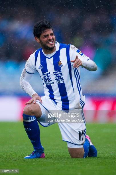 Carlos Vela of Real Sociedad reacts during the La Liga match between Real Sociedad de Futbol and Athletic Club Bilbao at Estadio Anoeta on March 12...