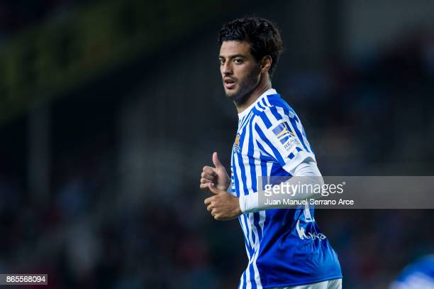 Carlos Vela of Real Sociedad reacts during the La Liga match between Real Sociedad de Futbol and RCD Espanyol at Estadio Anoeta on October 23 2017 in...