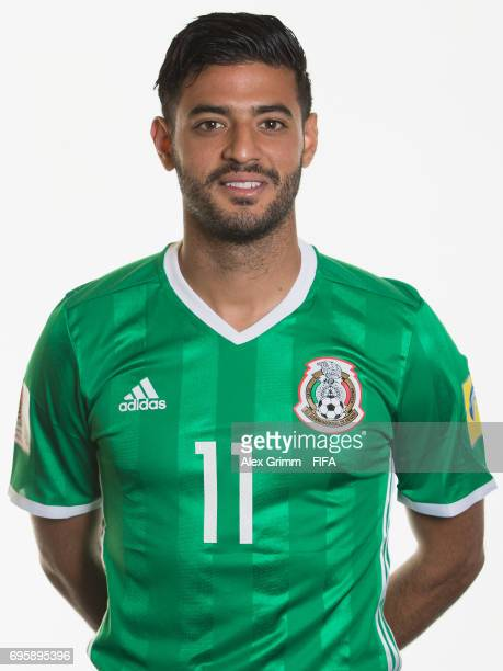 Carlos Vela poses for a picture during the Mexico team portrait session on June 14 2017 in Kazan Russia
