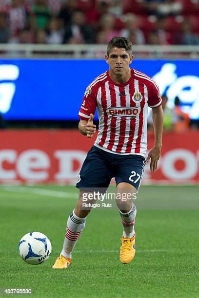 Carlos Villanueva of Chivas drives the ball during a 4th round match between Chivas and Morelia as part of the Apertura 2015 Liga MX at Omnilife...