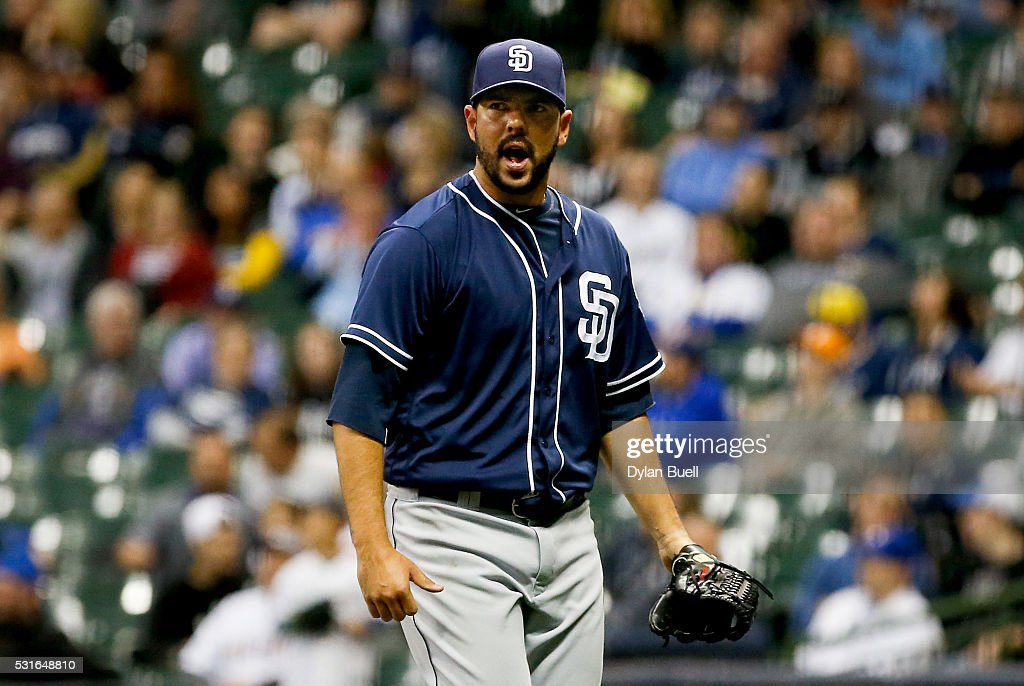Carlos Villanueva #23 of the San Diego Padres reacts during the game against the Milwaukee Brewers at Miller Park on May 13, 2016 in Milwaukee, Wisconsin.
