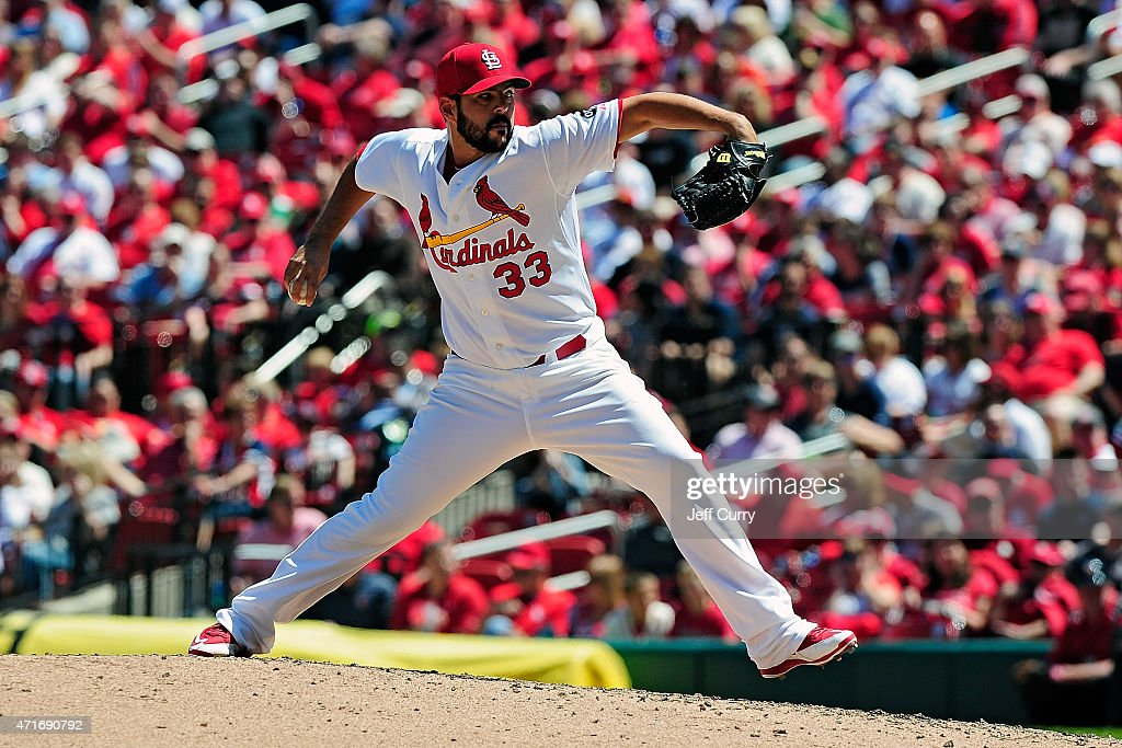 Carlos Villanueva #33 of the St. Louis Cardinals throws to a Philadelphia Phillies batter during the fifth inning at Busch Stadium on April 30, 2015 in St. Louis, Missouri.