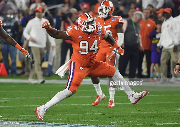 Carlos Watkins of the Clemson Tigers reacts after a defensive stop during the first half of the 2016 PlayStation Fiesta Bowl against the Ohio State...