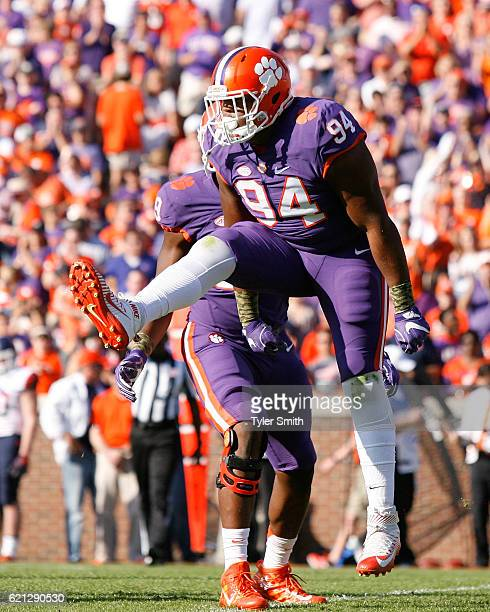 Carlos Watkins of the Clemson Tigers reacts after making a tackle during the game against the Syracuse Orange at Memorial Stadium on November 5 2016...