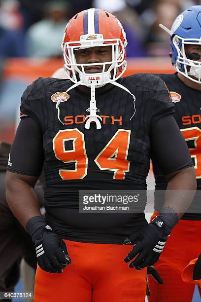 Carlos Watkins of the South team during the Reese's Senior Bowl at the LaddPeebles Stadium on January 28 2017 in Mobile Alabama