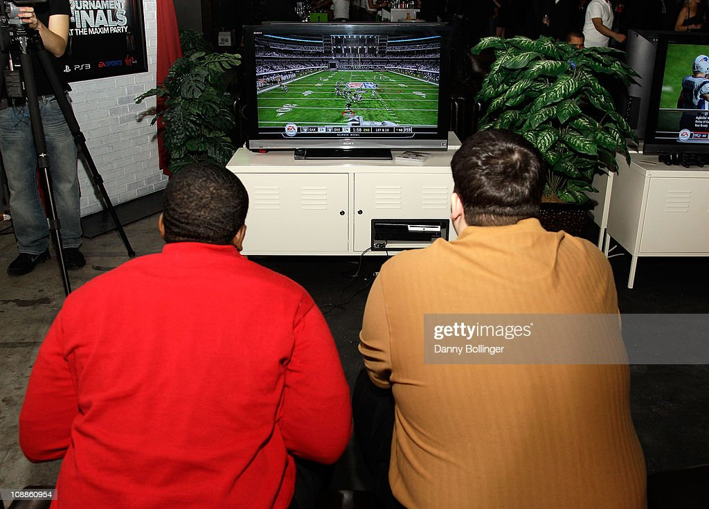 Carlos Yancy and Patric Shaw attend Virgin Gaming at the Maxim Party Powered by Xoom at Centennial Hall at Fair Park on February 5, 2011 in Dallas, Texas.