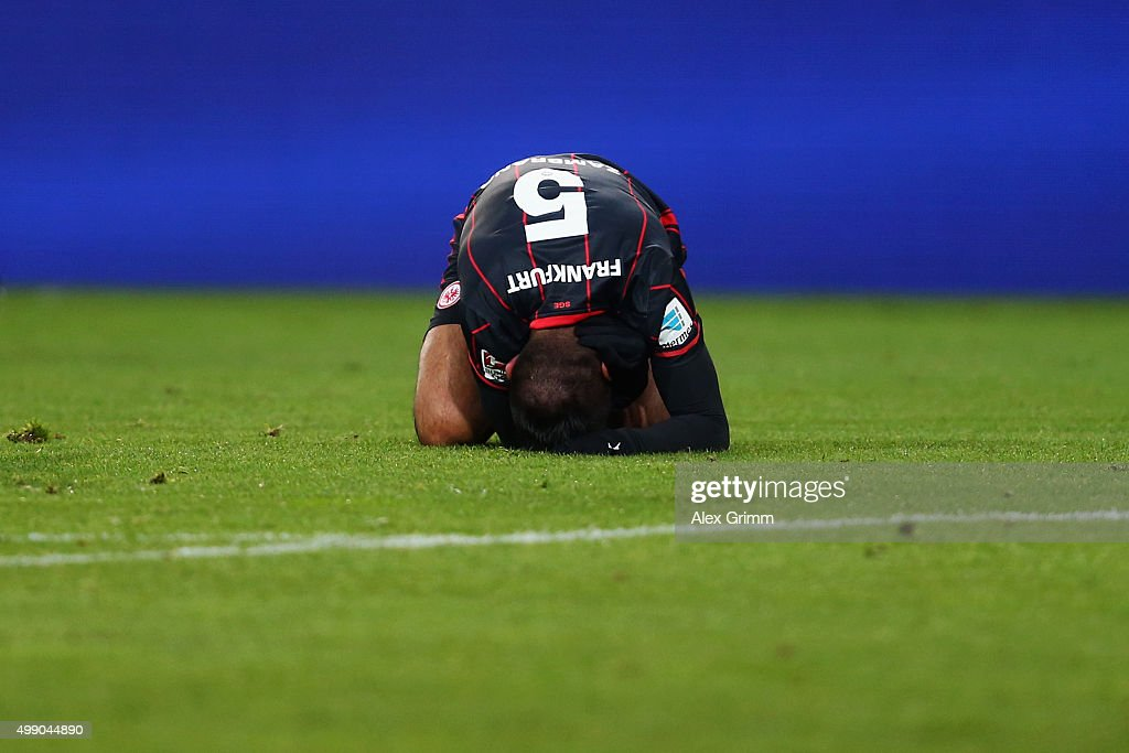 <a gi-track='captionPersonalityLinkClicked' href=/galleries/search?phrase=Carlos+Zambrano&family=editorial&specificpeople=203225 ng-click='$event.stopPropagation()'>Carlos Zambrano</a> of Frankfurt reacts during the Bundesliga match between 1. FSV Mainz 05 and Eintracht Frankfurt at Coface Arena on November 28, 2015 in Mainz, Germany.