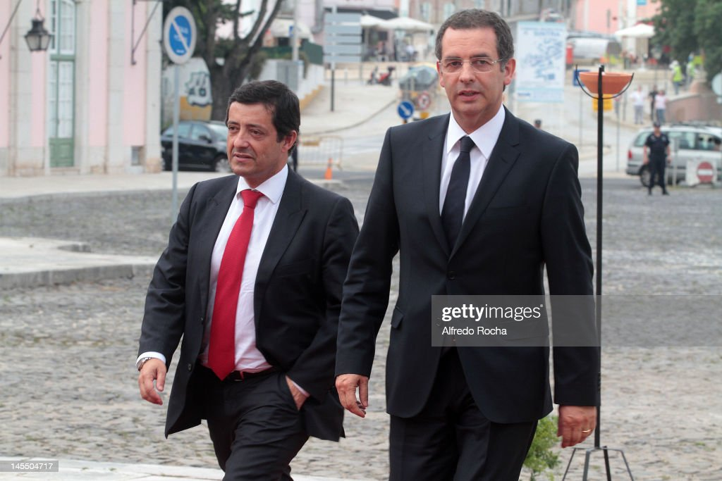 Carlos Zorrinho and Antonio Jose Seguro attend a Gala Dinner with Spanish Royals Prince Felipe of Spain and Princess Letizia of Spain at Queluz...