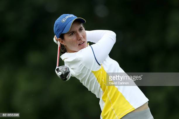 Carlota Ciganda of Spain and the European Team during practice for the 2017 Solheim Cup Matches at Des Moines Country Club on August 15 2017 in West...