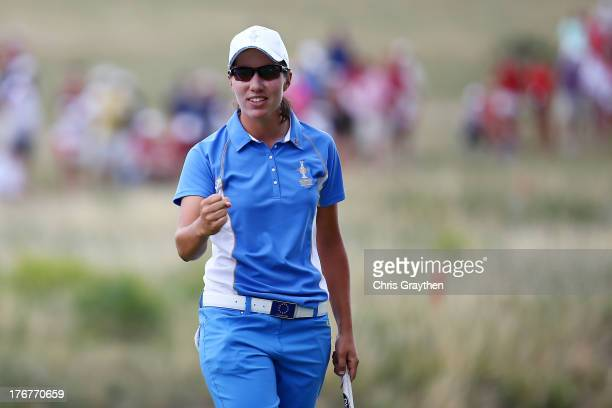 Carlota Ciganda of Spain and the European Tem reacts after winning her match against Morgan Pressel of the United States Team during the final day...