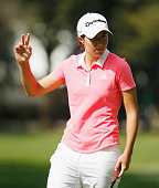 Carlota Ciganda of Spain celebrates after a birdie putt on the tenth hole during the final round of the Lorena Ochoa Invitational Presented By...