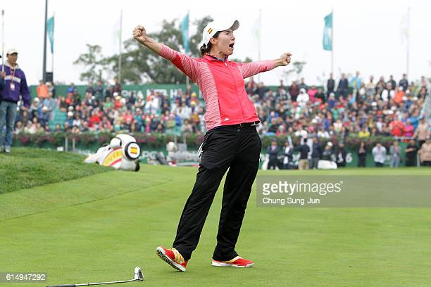 Carlota Ciganda of Spain celebrates after a winning putt on the 18th green during the final round of the LPGA KEBHana Bank Championship at the Sky 72...