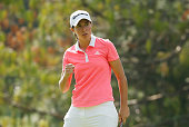 Carlota Ciganda of Spain celebrates after an birdie putt on the 11th hole during the final round of the Lorena Ochoa Invitational Presented By...