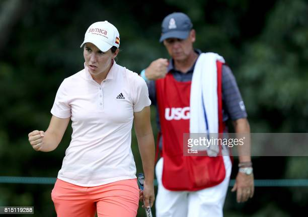 Carlota Ciganda of Spain celebrates her putt on the third green during the US Women's Open round three on July 15 2017 at Trump National Golf Club in...