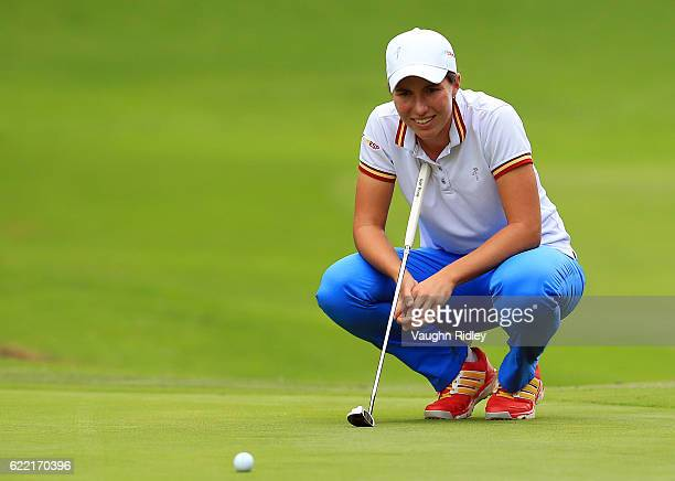 Carlota Ciganda of Spain eyes up a putt on the 18th hole during the first round of the Citibanamex Lorena Ochoa Invitational Presented By Aeromexico...