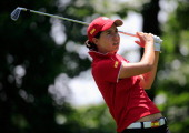 Carlota Ciganda of Spain follows her tee shot on the 5th hole during the International Crown at Cave Valley Golf Club on July 27 2014 in Owings Mills...