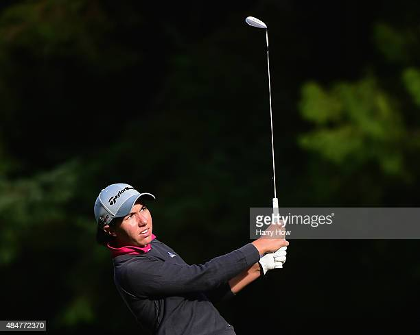 Carlota Ciganda of Spain hits a second shot on the 11th hole during the second round of the Canadian Pacific Women's Open at the Vancouver Golf Club...
