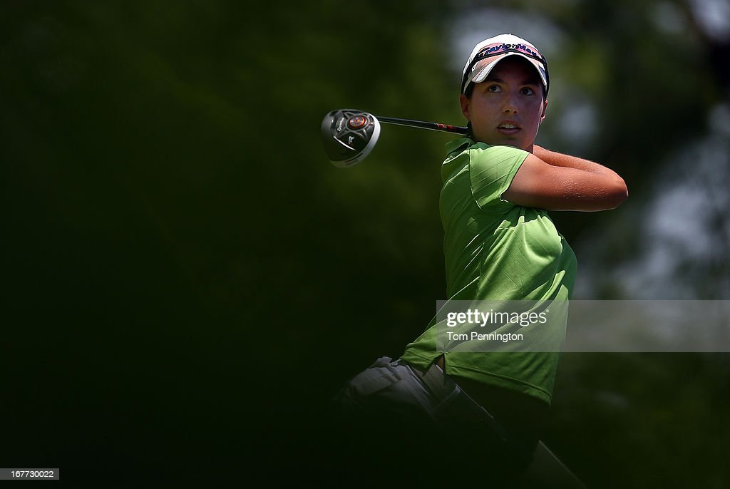 Carlota Ciganda of Spain hits a shot during the final round of the 2013 North Texas LPGA Shootout at the Las Colinas Counrty Club on April 28, 2013 in Irving, Texas.