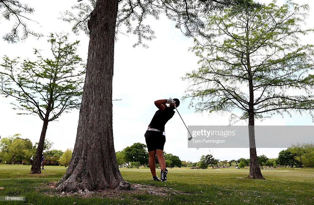 Carlota Ciganda of Spain hits a shot during the third round of the 2013 North Texas LPGA Shootout at the Las Colinas Country Club on April 27, 2013 in Irving, Texas.