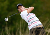 Carlota Ciganda of Spain hits a shot on the second hole during the second round of the CME Group Tour Championship at Tiburon Golf Club on November...