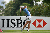 Carlota Ciganda of Spain hits her tee shot on the 9th hole during the second round of the HSBC Women's Champions at the Sentosa Golf Club on March 6...