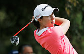 Carlota Ciganda of Spain hits her tee shot on the fourth hole during the final round of the Lorena Ochoa Invitational Presented By Banamex at the...