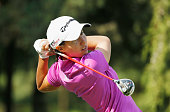 Carlota Ciganda of Spain hits her tee shot on the second hole during the first round of the Lorena Ochoa Invitational Presented By Banamex at the...