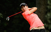 Carlota Ciganda of Spain hits her tee shot on the seventh hole during the second round of the Lorena Ochoa Invitational Presented By Banamex at the...