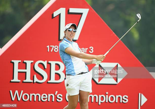 Carlota Ciganda of Spain hits her teeshot on the 17th hole during the second round of the HSBC Women's Champions at Sentosa Golf Club on March 6 2015...