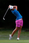 Carlota Ciganda of Spain hits on the 9th hole during the final round of the LPGA Portland Classic at the Columbia Edgewater Country Club on August 31...