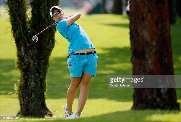 Carlota Ciganda of Spain in action during the final round of the HSBC Women's Champions at the Sentosa Golf Club on March 8 2015 in Singapore...