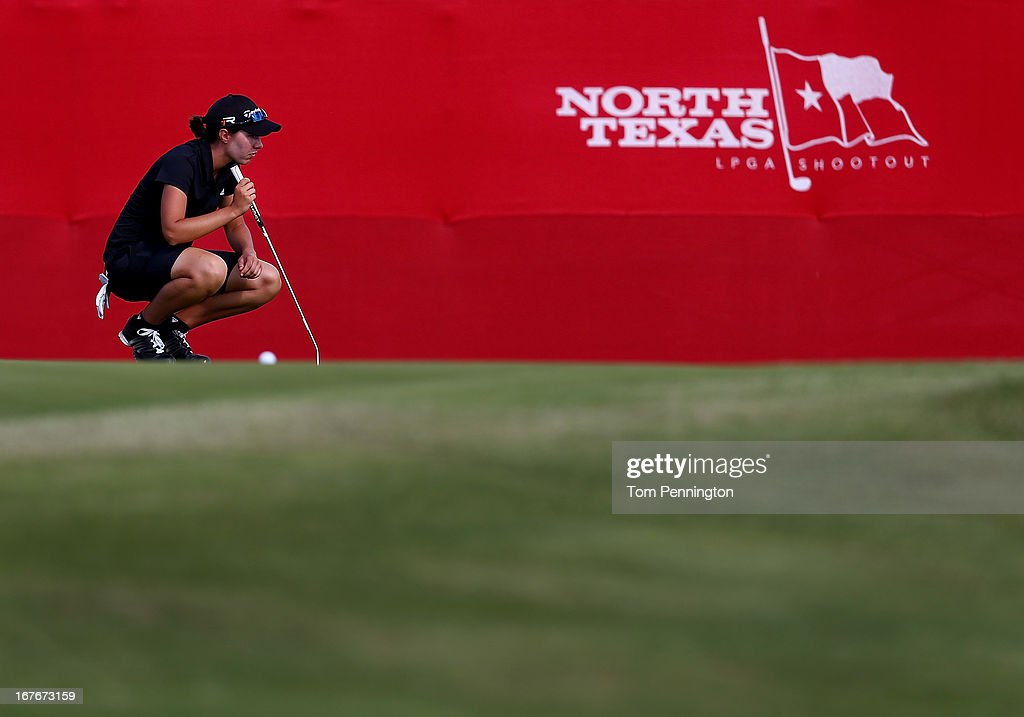 Carlota Ciganda of Spain lines up a birdie putt during the third round of the 2013 North Texas LPGA Shootout at the Las Colinas Country Club on April 27, 2013 in Irving, Texas.