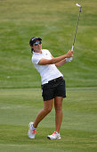Carlota Ciganda of Spain makes an approach shot on the 16th hole during round three of the ANA Inspiration on the Dinah Shore Tournament Course at...