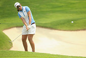 Carlota Ciganda of Spain plays a chip shot on the 17th hole during the second round of the HSBC Women's Champions at Sentosa Golf Club on March 6...