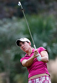 Carlota Ciganda of Spain plays a shot on the second hole during the third round of the CME Group Tour Championship at Tiburon Golf Club on November...