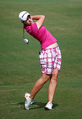 Carlota Ciganda of Spain plays a shot on the sixth hole during the third round of the CME Group Tour Championship at Tiburon Golf Club on November 22...
