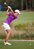 Carlota Ciganda of Spain plays a shot on the third hole during the final round of the CME Group Tour Championship at Tiburon Golf Club on November 23...