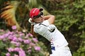 Carlota Ciganda of Spain plays a teeshot on the 12th hole during the first round of the HSBC Women's Champions at Sentosa Golf Club on February 27...