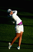 Carlota Ciganda of Spain plays her second shot on the 10th hole during the first round of the Omega Dubai Ladies Maters on the Majlis Course at the...