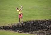 Carlota Ciganda of Spain plays her second shot on the 7th hole at Mission Hills' Blackstone Course on March 9 2013 in Hainan Island China