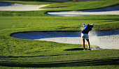 Carlota Ciganda of Spain plays her second shot on the par 5 18th hole during the second round of the 2016 ANA Inspiration at the Mission Hills...