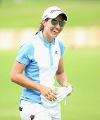 Carlota Ciganda of Spain smiles on the 18th hole during the second round of the HSBC Women's Champions at Sentosa Golf Club on March 6 2015 in...