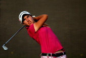Carlota Ciganda of Spain tees off on the 15th hole during the third round of the 2013 Omega Dubai Ladies Masters on the Majilis Course at the...