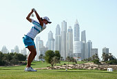 Carlota Ciganda of Spain tees off on the eighth hole during the final round of the Omega Dubai Ladies Masters on the Majlis Course at Emirates Golf...