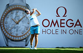 Carlota Ciganda of Spain tees off on the seventh hole during the final round of the Omega Dubai Ladies Masters on the Majlis Course at Emirates Golf...