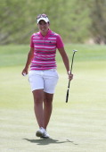 Carlota Ciganda of Spain walks off the 18th green following the first round of the JTBC LPGA Founders Cup at Wildfire Golf Club on March 20 2014 in...