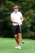 Carlota Ciganda of Spain watches her tee shot on the seventh hole during round one of the International Crown on July 24 2014 in Owings Mills Maryland